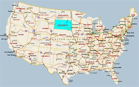 south dakota us map fitzy s web site travel united states of america