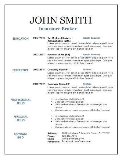 Resume White Space by Blank Resume Template