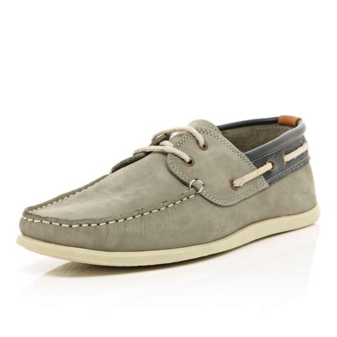 river island shoes river island grey contrast trim boat shoes in gray for