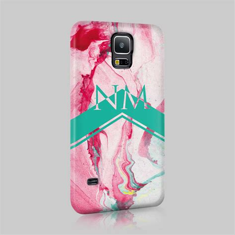 personalised colourful marble initials custom phone case