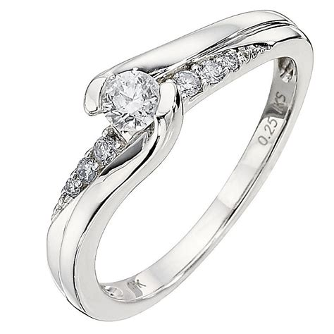 9ct white gold quarter carat solitaire ring h samuel