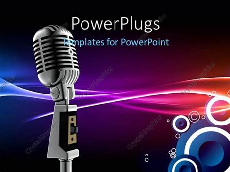 template powerpoint karaoke powerpoint template silver microphone and lifier on