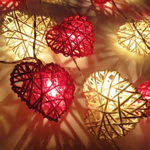 20 red white heart rattan lover fairy lights string by