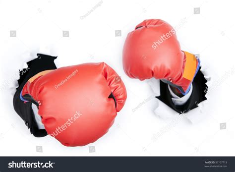 How To Make Paper Boxing Gloves - businessmans breaking through paper wall stock photo