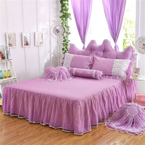 Princess Bed Cover Set Bedding Sets White Lace Ruffle Duvet Cover Set Princess Bed Skirt Set Ebay