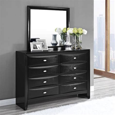 bedroom bureau furniture wooden dresser with eight drawer and rectangle mirror as well as white dresser