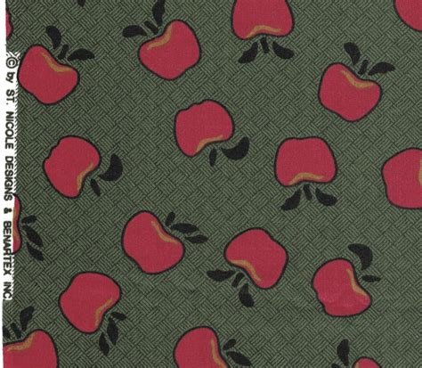 pattern for fabric apple bernatex fabrics st nicole apple print green with red
