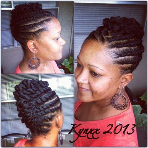 pictures of twists in a updo hairstyle for black woman replace your cornrows with these flat twist braids