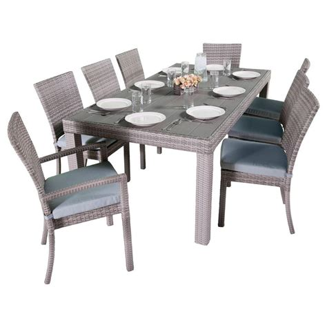 Outdoor Dining Set Blue Rst Brands Cannes 9 Patio Woven Dining Set With