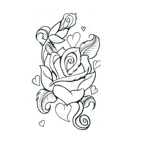 rose tattoo coloring page pencil drawings of hearts and roses cliparts co
