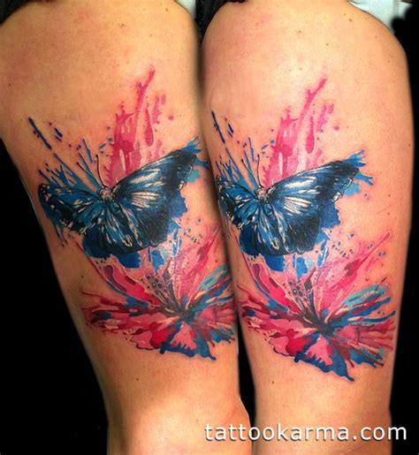 watercolor tattoo in nyc watercolor butterfly and hibiscus flower with
