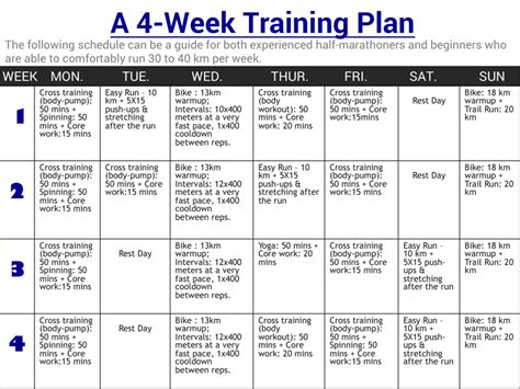 a 4 week program to improve running endurance