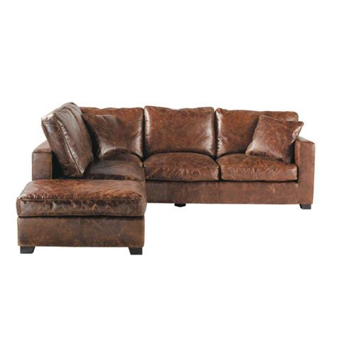 Corner Brown Leather Sofa 5 Seater Leather Corner Sofa In Brown Stanford Maisons Du Monde