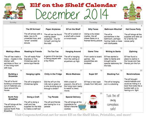 printable elf on the shelf coupons printable elf on the shelf calendar of ideas elfontheshelf