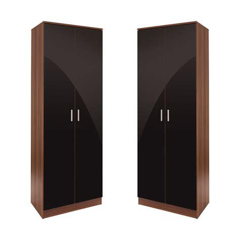 Black High Gloss Wardrobes by Set Of 2x 2 Door Wardrobe Black High Gloss Walnut Frame