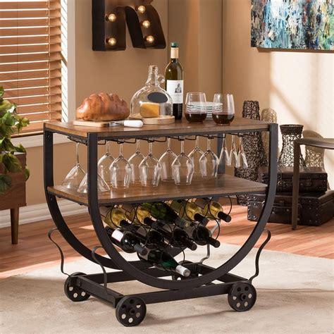 Industrial Style Wine Rack Wood Metal Beverage Bar Cart