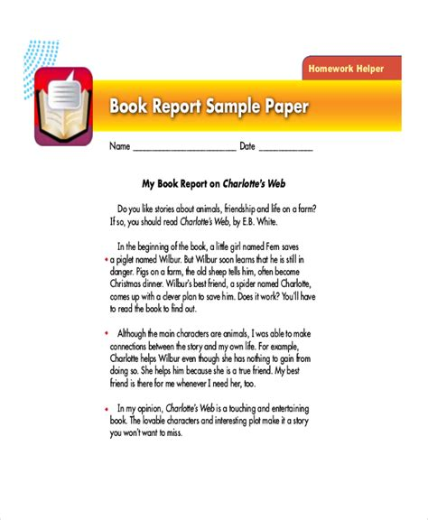 and me book report sle book report format 10 free documents in pdf doc