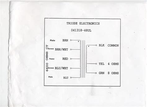 wiring diagram output transformer 4 8 16 ohm wiring