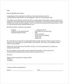 Offer Letters With Conditions Sle Employment Offer Letter 5 Documents In Pdf Word