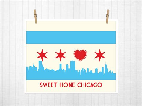 chicago flag with skyline sweet home chicago chicago