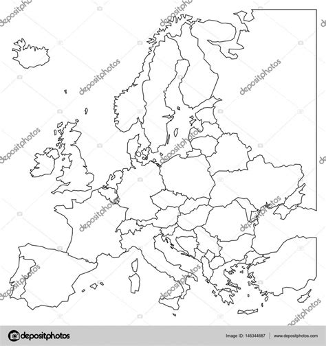 blank outline map of europe simplified wireframe map of