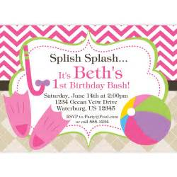 pool party invitation pink chevron and tan by purpleberryink