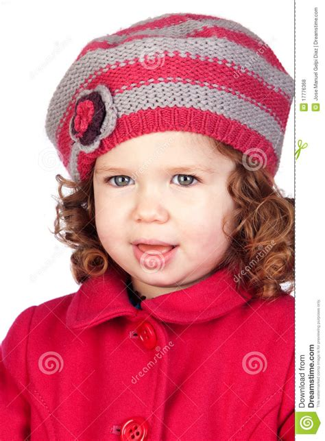 smiling baby girl  wool cap stock photo image