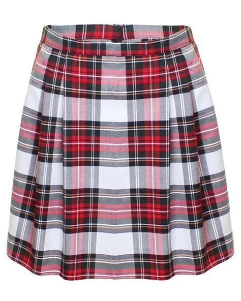 white tartan pleated skirt