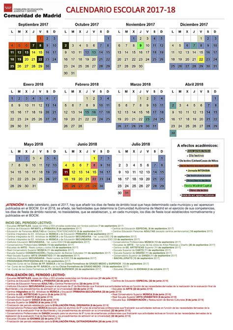 Calendario 2018 Comunidad De Madrid Calendario Escolar 2017 2018 Madrid Plaza Sindical