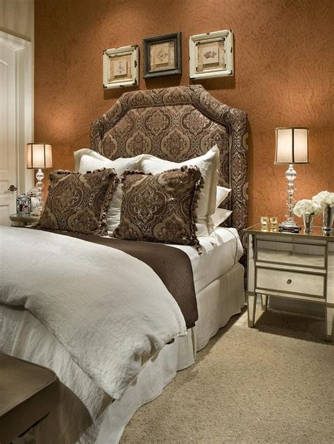 tone bedroom transitional brown bedroom with damask upholstered headboard hgtv