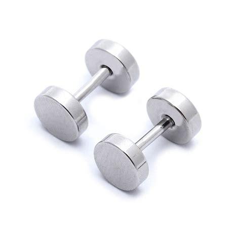 Barbel Stainless k9 1 pair of s barbell stainless steel ear studs earrings