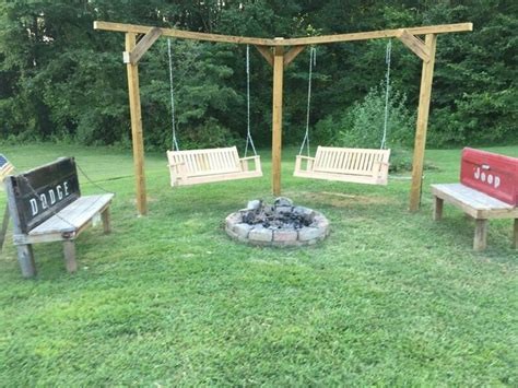 bench swing fire pit double swing and tailgate benches around our fire pit