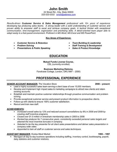 Resume Sles Customer Service Manager Click Here To This Senior Account Manager Resume Template Http Www