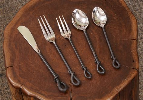wrought iron flatware rustic forged loop flatware set the log furniture store