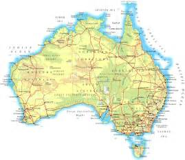 maps free large physical map of australia with roads and cities