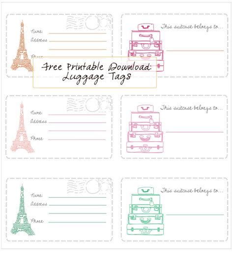 printable luggage tags free printable luggage tags in honor of design
