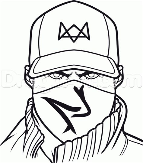 watch dogs coloring page how to draw aiden pearce from watch dogs step by step