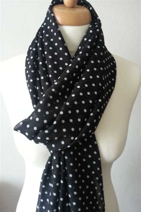 Pashmina Whie Dot black and white polka dot scarf black scarf wide spotted
