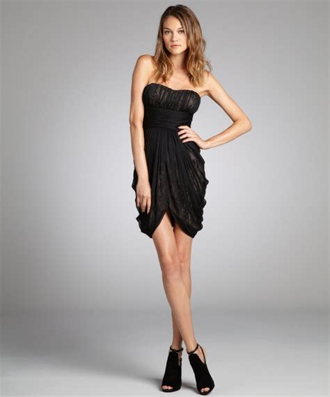 Dress Sabrina Cleo Black max cleo black net and lace abby strapless cocktail dress in black lyst