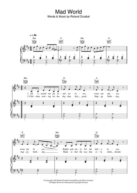 tutorial piano mad world mad world sheet music by alex parks piano vocal guitar