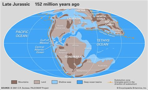 map of america during jurassic period laurasia supercontinent britannica