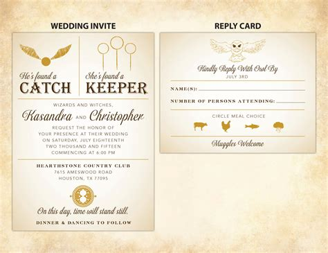 harry potter card template harry potter wedding invitation diy printable