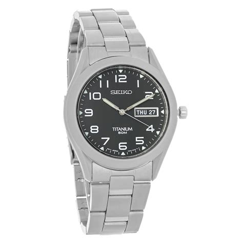 Seiko Date Day Black seiko mens day date black titanium bracelet quartz sgg711 ebay