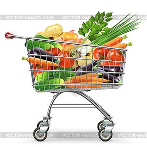supermarkt wagen supermarkt wagen mit gem 252 se vektor clipart