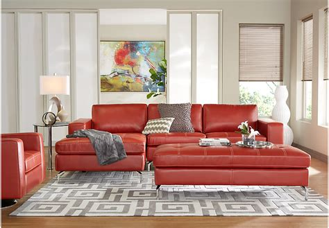 Rooms To Go Sectional Sofa Brandon Heights Papaya 3 Pc Sectional Living Room Leather Living Rooms Orange