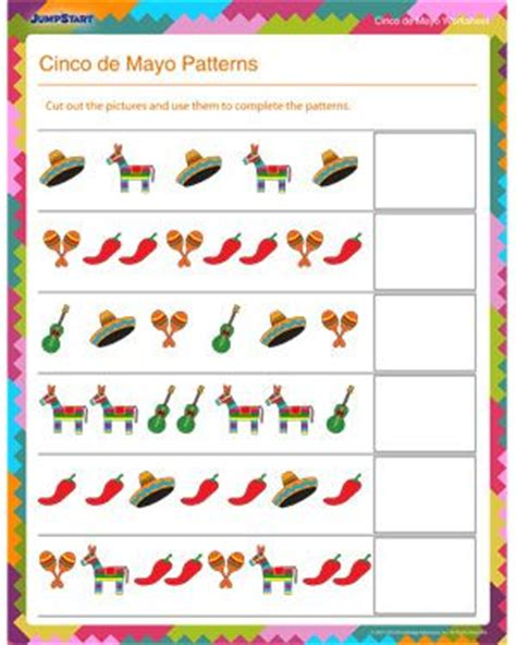 mathematical pattern in spanish cinco de mayo patterns free math worksheet for kids