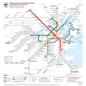 Boston Trolley Map by Boston S Mbta Transit Map Update Showing Current Service