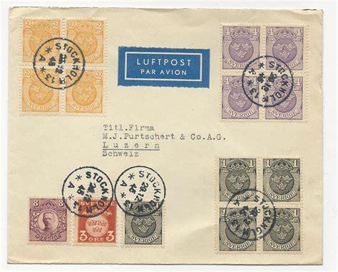 Brief Schweiz Schweden Schweden 1945 15 Marken Auf Luftpost Brief I D Schweiz Dabei 4er Bl 246 Cke 183 Heiner Zinoni