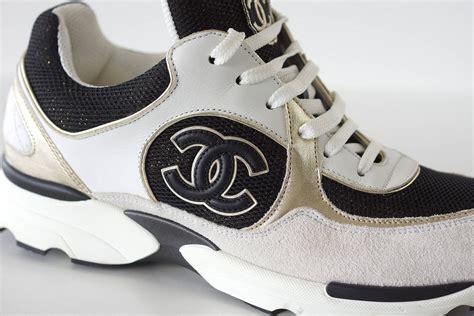 chanel sports shoes chanel sneaker tennis shoe white metallic black 39 5 9 5