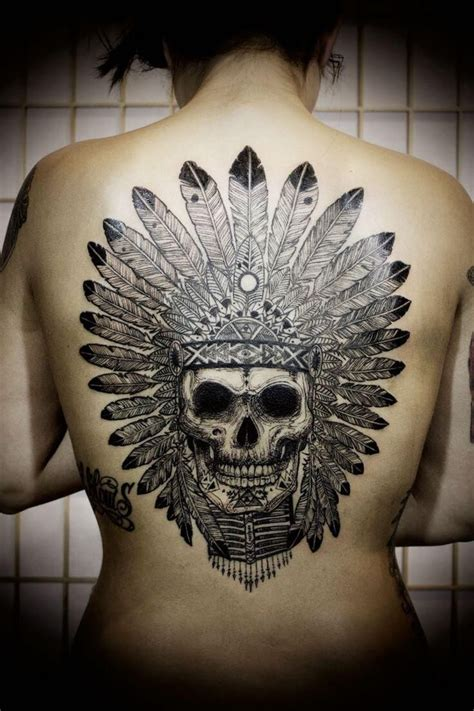 native american headdress skull tattoo tattoos pinterest
